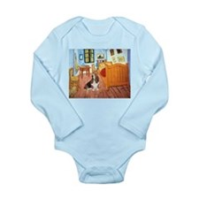 Van Gogh's Room & Basset Long Sleeve Infant Bodysu