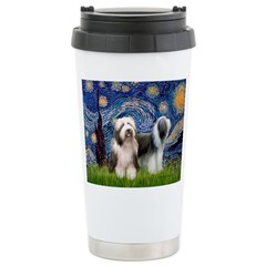 Starry / 2 Bearded Collies Travel Mug