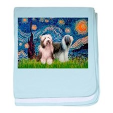 Starry / 2 Bearded Collies baby blanket