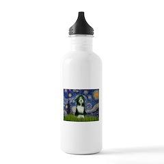 Starry Night /Bearded Collie Water Bottle
