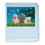 Lilies3/3 Cairn Terriers baby blanket