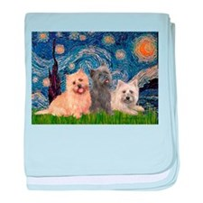 Starry/3 Cairn Terriers baby blanket