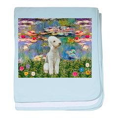 Lilies / Bedlington T baby blanket