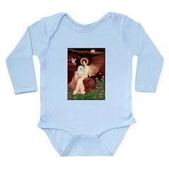Seated Angel & Bolognese Long Sleeve Infant Bodysu