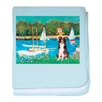 Sailboats & Border Collie baby blanket