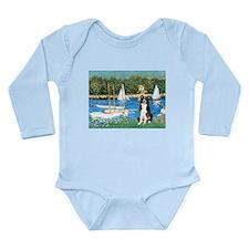Sailboats & Border Collie Long Sleeve Infant Bodys