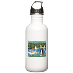 Sailboats & Border Collie Water Bottle