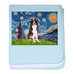 Starry Night Border Collie baby blanket