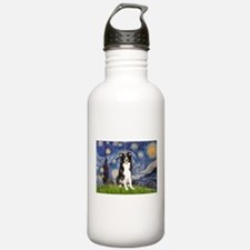 Starry Night Border Collie Water Bottle