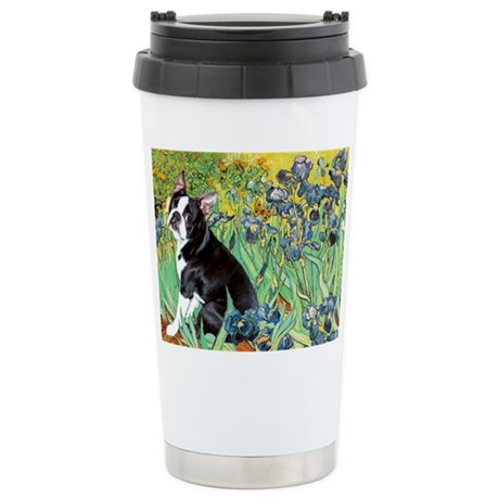 Irises & Boston Ter Stainless Steel Travel Mug