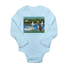 Sailboats & Boxer Long Sleeve Infant Bodysuit