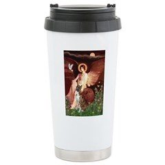 Seated Angel & Boxer Stainless Steel Travel Mug