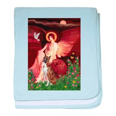 Seated Angel & Boxer baby blanket