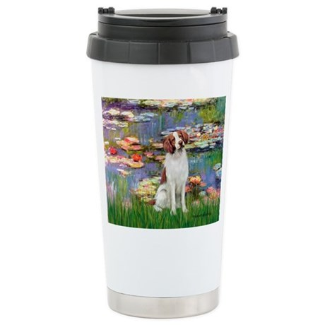 Lilies 2/Brittany Spaniel Stainless Steel Travel M