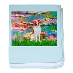 Lilies 2/Brittany Spaniel baby blanket