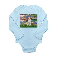 Lilies 2/Brittany Spaniel Long Sleeve Infant Bodys