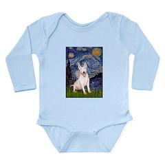 Starry/Bull Terrier (#4) Long Sleeve Infant Bodysu