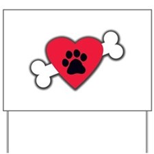 Heart Paw Print Bone Yard Sign