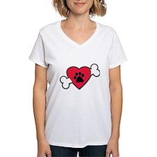 Heart Paw Print Bone Shirt
