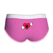 Heart Paw Print Bone Women's Boy Brief