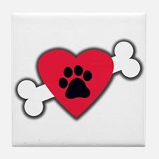 Heart Paw Print Bone Tile Coaster