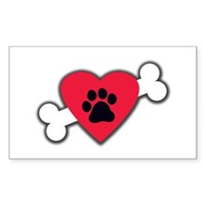 Heart Paw Print Bone Decal