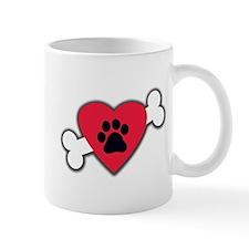 Heart Paw Print Bone Mug
