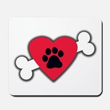 Heart Paw Print Bone Mousepad
