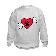 Heart Paw Print Bone Sweatshirt