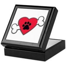 Heart Paw Print Bone Keepsake Box