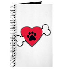 Heart Paw Print Bone Journal