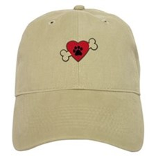 Heart Paw Print Bone Baseball Cap