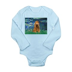 Lilies (5)/Cocker (br) Long Sleeve Infant Bodysuit