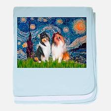 Starry Night / Collie pair baby blanket
