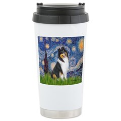 Starry Night / Collie (tri) Travel Mug