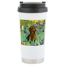 Irises & Dachshund Travel Mug