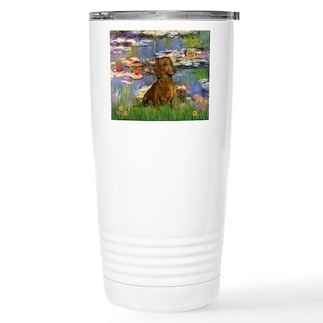 Lilies & Dachshund Stainless Steel Travel Mug