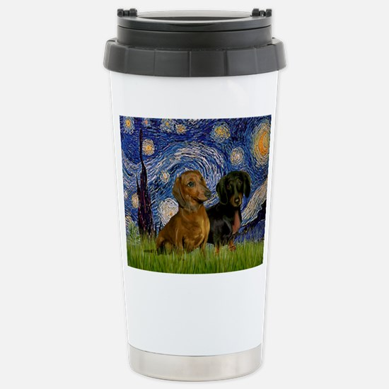 Starry Night Doxie Pair Stainless Steel Travel Mug