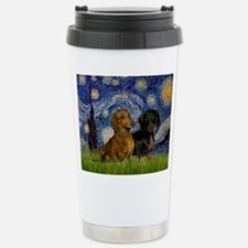 Starry Night Doxie Pair Travel Mug