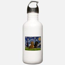 Starry Night Doxie Pair Sports Water Bottle
