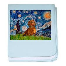 Starry / Dachshund baby blanket