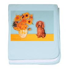 Sunflowers - Doxie (LH,S) baby blanket
