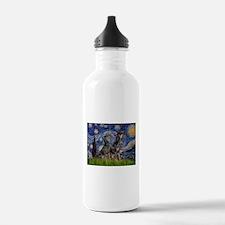Starry Night / 2 Dobies Water Bottle