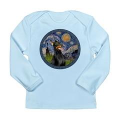 Starry Night Doberman (#1) Long Sleeve Infant T-Sh