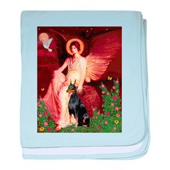 Seated Angel & Dobie baby blanket