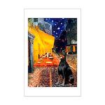 Cafe & Doberman Mini Poster Print