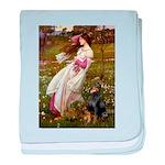 Windflowers / Doberman baby blanket