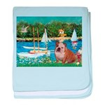 Sailboats /English Bulldog baby blanket