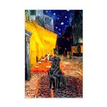 Cafe / Flat Coated Retriever Mini Poster Print