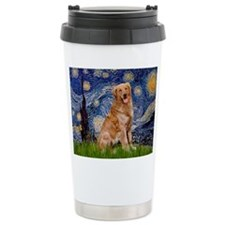 Starry Night Golden Travel Mug